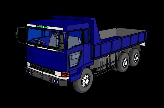 大型ダンプ 店舗やビルなどの看板取り付け工事用の大型看板を積んだ大型トラックが駐車... 大型ト